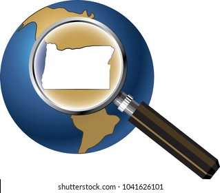 Oregon State Map Enlarged with Magnifying Glass on Globe