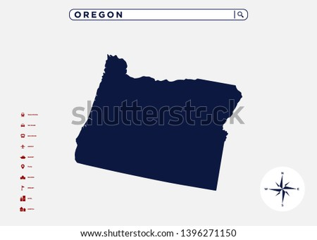 Oregon State Map United States America Stock Vector (Royalty ...