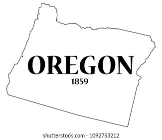 An Oregon state outline with the date of statehood isolated on a white background