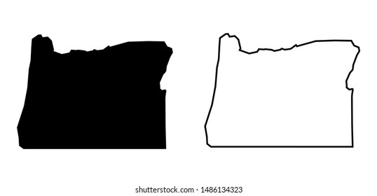 Oregon State - USA Blank Map Vector Template Silhouette Black Color and Outline Isolated on White Background