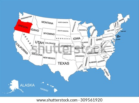 United States Map Oregon.Oregon State Usa Vector Map Isolated Stock Vector Royalty Free