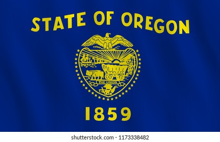 Oregon US state flag with waving effect, official proportion.