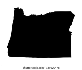 Oregon vector map silhouette isolated on white background. High detailed illustration. United state of America country.