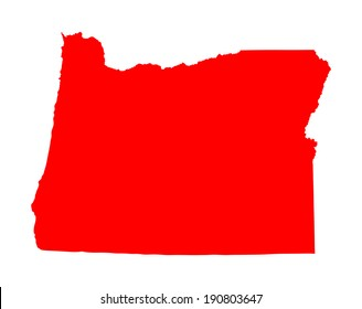 Oregon vector map silhouette isolated on white background. High detailed red silhouette illustration. USA state map territory.