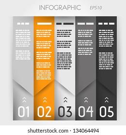 orenge and grey column ingographic five oblique options. infographic concept.