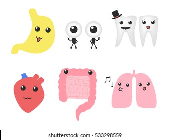 organ cartoon vector . lung intestine tooth eye stomach and heart