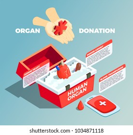 Organ donation isometric composition with donor kidney and donor heart in medical container and blood bad used for transfusion vector illustration