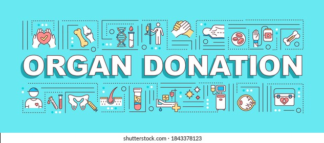 Organ donation word concepts banner. Transplantation surgery, medical charity infographics with linear icons on turquoise background. Isolated typography. Vector outline RGB color illustration