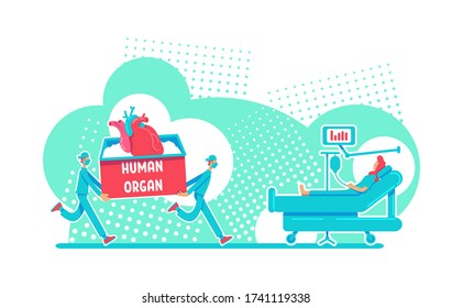 Organ transplant surgery flat concept vector illustration. Emergency donor for heart. Clinical operation 2D cartoon characters for web design. Surgical procedure to save life creative idea