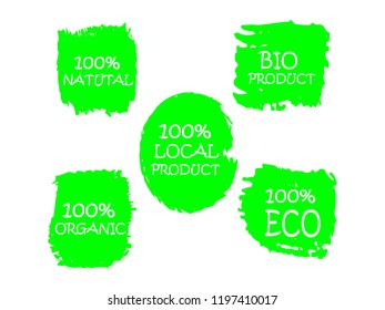 Organic, 100% bio, eco, natural product, vegan food, natural farming, vegetarian labels. Vector collection of paint brush strokes isolated on white background. Hand drawn abstract design elements set.