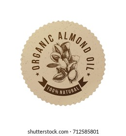 Organic almond oil emblem with hand drawn nuts in eco friendly style. Vector illustration