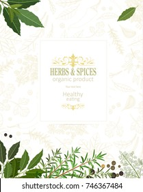 organic banner with fresh herbs and spices for your design