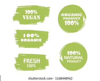 Organic, bio, eco, natural product, vegan food, natural farming, vegetarian labels. Vector collection of paint brush strokes isolated on white background. Hand drawn abstract design elements set.