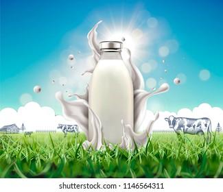 Organic blank bottle milk with splashing liquid on grassland in 3d illustration