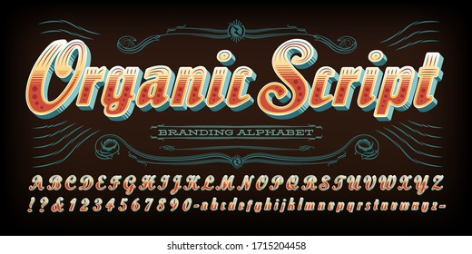 Organic bold script font; An alphabet of layered embellishments and 3d effects. This alphabet has a retro vibe which conjures a simple, natural down-home feel. Good for logos, branding, etc.