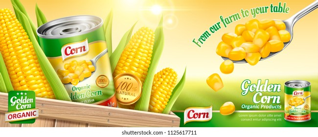 Organic canned corn ads with a spoon of maize kernels and tin can on bokeh field background in 3d illustration