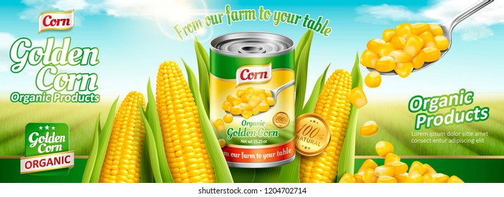 Organic canned corn banner ads with delicious maize in 3d illustration