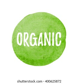 Organic card, poster, logo, written on watercolor green background illustration