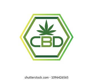 Organic CBD Cannabis Logo In Isolated White Background