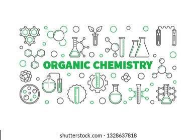 Organic Chemistry concept horizontal banner. Vector illustration in thin line style