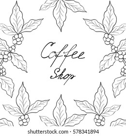 Organic coffee leaf, bean hand drawn template, banner, lettering, sketch style.