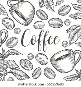 Organic coffee leaf, bean vector hand drawn template packaging cosmetic, label, banner, poster, identity, branding. Stylish design with sketch illustration of coffee sketch. Natural organic.
