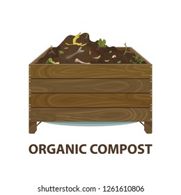 Organic compost. Cartoon wooden box with ground and food garbage. Zero waste theme. Illustration of bio, organic fertilizer, compost, soil, agronomy. Colored flat icon, vector design.
