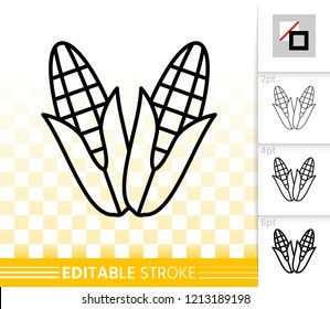 Organic corn thin line icon. Outline web sign of cob. Maize linear pictogram with different stroke width. Simple vector symbol, transparent background. Fall harvest editable stroke icon without fill