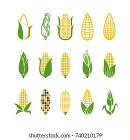 Organic corn vector icons isolated on white background. Corn and corncob vegetable organic illustration