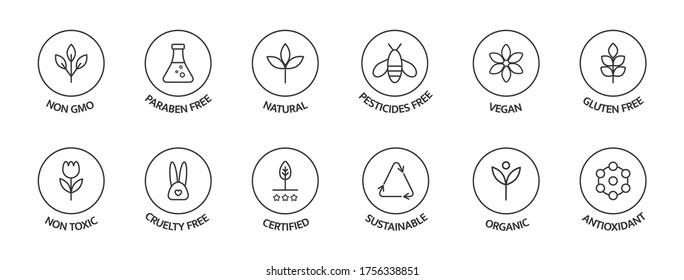 Organic cosmetic labels set. Product free allergen line icons. GMO free emblems. Organic stickers. Natural products badges. Healthy eating. Vegan, bio food. Vector illustration.