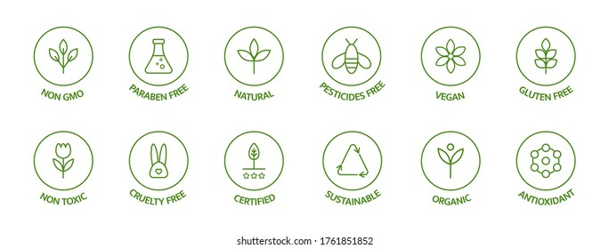 Organic cosmetic line icons set. Product free allergen labels. Natural products badges. GMO free emblems. Organic stickers. Healthy eating. Vegan, bio food. Vector illustration.