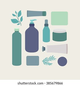 Organic cosmetic packaging. Cosmetics collection. Vector illustration