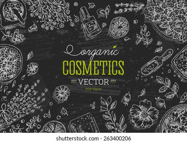 Organic Cosmetics  chalk board frame. Natural cosmetics background. Vector illustration