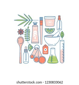 Organic cosmetics collection. Making organic natural product. Hand cream, face cream containers, laboratory glass equipment, ingredients. Vector illustration