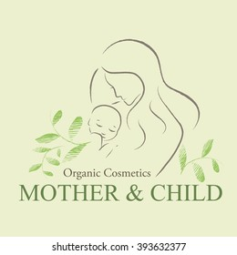 Organic Cosmetics Design element with contoured mother and newborn baby silhouette decorated by hand drawn green leaves. Mother and child emblem