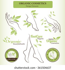 Organic Cosmetics Design Set with contoured female body parts (foot, hand) and hand drawn green leaves. Badges and logotypes for healthy and natural body care products