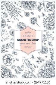 Organic Cosmetics frame. Natural cosmetics background. Vector illustration