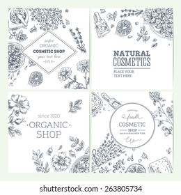 Organic cosmetics frames collection. Natural cosmetics background. Vector illustration