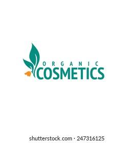 Organic cosmetics logo design vector template. Flower icon
