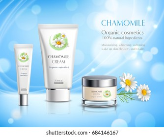 Organic cosmetics skincare products realistic advertisement poster with chamomile extract anti allergy cream  blue background vector illustration