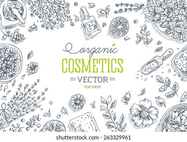 Organic Cosmetics top view frame. Natural cosmetics background. Vector illustration