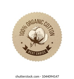 Organic cotton emblem in eco style with hand sketched cotton plant