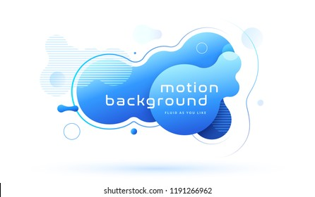 Organic design of liquid color abstract geometric shapes. Blue fluid gradient elements for minimal banner, logo, social post. Futuristic trendy dynamic elements. Abstract background. Eps10 vector.