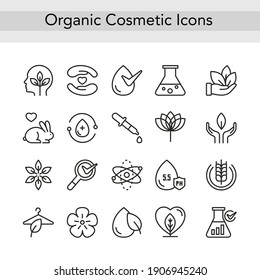 Organic eco cosmetics thin black line icons vector illustration. Outline logo cosmetology collection for beauty products and packaging with safe ecological natural ingredients, editable stroke set