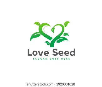 organic eco green love logo icon design, heart shape nature seed leaf health  element vector template