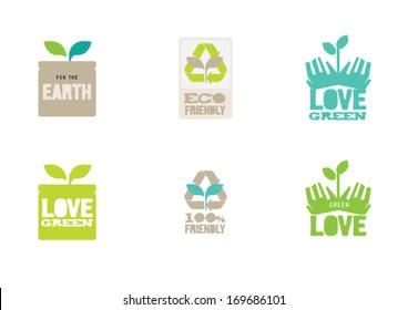 Organic Eco Recycle Green Icons and Labels