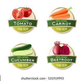 Organic farm fresh vegetables 4 round labels collection with ecological tomato carrot cucumber and beetroot isolated vector illustration