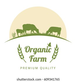 Organic farm label with cows silhouette, vector