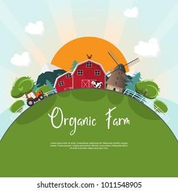 Organic farm. landscape countryside natural farm with big sun vector illustration.