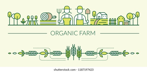 Organic Farm Line Icons Header and Footer, Agriculture, Farmers, Plantation, Gardening, Decoration